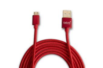 (3-Metre, RED) - BigBuild Technology RED 3-Metre Faster Charging & Data Transfer Cable for Amazon Fire 8, Fire 7 Tablet, 2.7mes Gold Plated