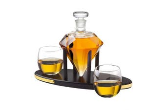 Whiskey Decanter Diamond set with 2 Cocktail Whisky Glasses - for Liquor, Scotch, Bourbon, Vodka- 850ml
