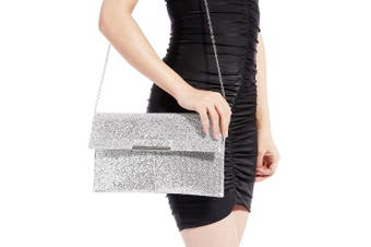 (Glitter Silver) - Womens Glitter Clutch Bag Evening Party Chain Shoulder Bag Shimmer Wedding Prom Handbag Purse