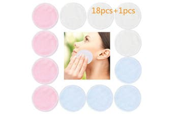 18Pcs Make-up Remover Pads with Laundry Bag 2 Layers Bamboo Fibre/Velvet,Reusable Makeup Soft Remover Cloth,Wipes Face/Eye Clean for Women Men