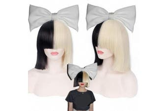 (Black Blond) - Ani·Lnc Cosplay Wig Short Straight black blond Synthetic Cosplay Wig With Bangs
