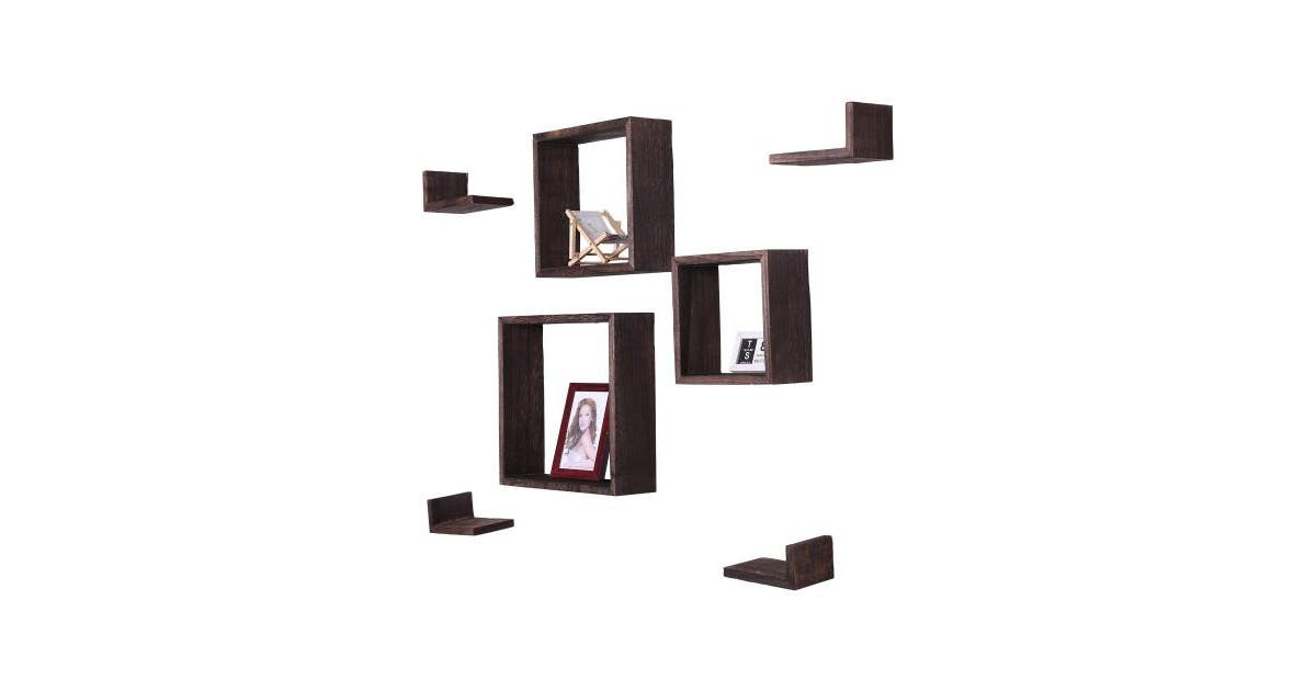 shoptheglobe torched brown fify rustic wall mounted square shaped floating shelves set of 7 3 square shelves and 4 rectangle shaped rustic shelves screws and anchors included rustic wall decor brown 61 au