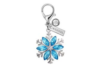MC125 New Blue Rhinestone Snowflake Lobster Clasp Charm Pendant with Pouch Bag (1 Piece)