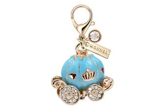 MC113 New Blue Princess Pumpkin Carriage Lobster Clasp Charm Pendant with Pouch Bag (1 Piece)