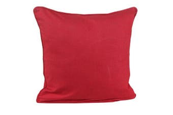 (45 x 45 cm, Red) - Homescapes - 100% Cotton Plain Red Cushion Cover - 45 x 45 cm Square - 18 x 18 Inches -Deep Scarlet Red - Sofa Cushion Pillow Cover - Washable