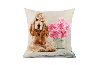(Golden Retriever 2#) - Moyun Golden Retriever Dog Pink Flowers Pattern Cotton Linen Throw Pillowcase Cushion Cover Car Sofa Home Decor 45 x 45 cm
