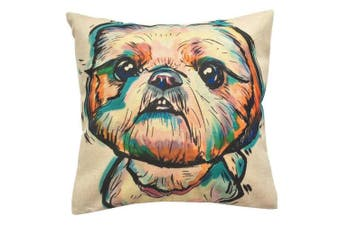 (Shih Tzu) - Moyun Watercolour Shih Tzu Dog Pattern Cotton Linen Cushion Cover Throw Pillowcase Car Sofa Home Decor 46cm