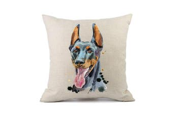 (Doberman) - Moyun Cute Pet Doberman Dog Pattern Cushion Cover Cotton Linen Throw Pillowcase Car Sofa Home Decor 46cm Square