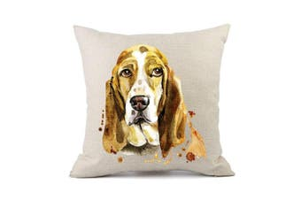 (Basset Hound 2#) - Moyun Cute Pet Basset Hound Dog Pattern Cotton Linen Throw Pillowcase Cushion Cover Car Sofa Home Decor 45 x 45 cm