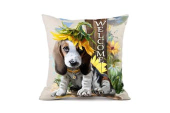 (Basset Hound 3#) - Moyun Basset Hound Dog Sunflowers Pattern Cotton Linen Throw Pillowcase Cushion Cover Car Sofa Home Decor 45 x 45 cm