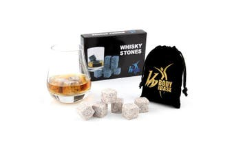 (Yellow Granite) - Body And Base 9pcs Whisky Ice Stones Drinks Cooler Cubes Whiskey Scotch on The Rocks Granite (Yellow Granite)