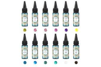 (Extra supply_12 colours uv resin) - Funshowcase 12 Translucent Colours UV Resin Hard Type 25ml 25g 0.9oz