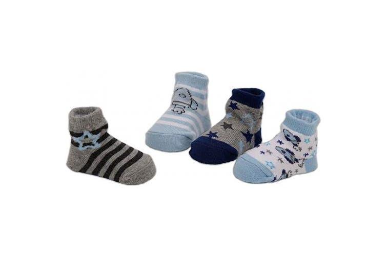 (Rockets + Stars, 0-12 Months) - BRUBAKER 4 Pairs of Baby Socks Girls Boys 0-12 Months - Rockets + Stars