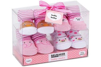 (Animals Pink Yellow, 0-12 Months) - BRUBAKER 4 Pairs of Baby Socks Girls 0-12 Months - Animals Pink Yellow