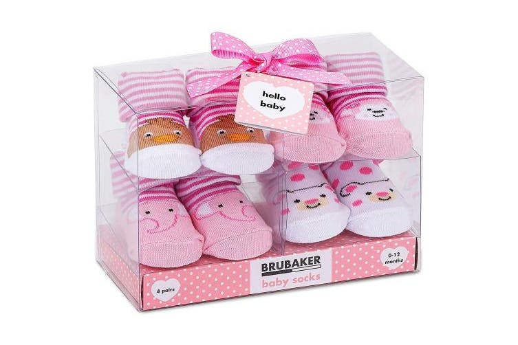 (Animals Pink Yellow, 0-12 Months) - BRUBAKER 4 Pairs of Baby Socks Girls 0-12 Months - Animals Pink Yellow