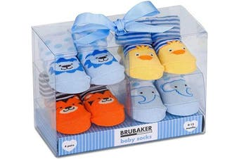 (Animals, 0-12 Months) - BRUBAKER 4 Pairs of Baby Socks Boys 0-12 Months - Animals