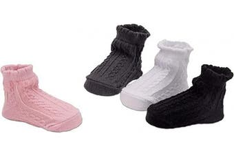 (Plait pattern, 0-12 Months) - BRUBAKER 4 Pairs of Baby Socks Girls 0-12 Months - Plait Pattern