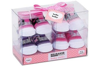 (Fun Sneaker Pink, 0-12 Months) - BRUBAKER 4 Pairs of Baby Socks Girls 0-12 Months - Fun Sneaker Pink
