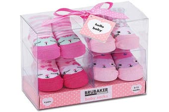 (Cats Pink Mint, 0-12 Months) - BRUBAKER 4 Pairs of Baby Socks Girls 0-12 Months - Cats Pink Mint