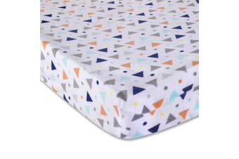(Triangle) - Wendy Bellissimo Velboa Contoured Nappy Pad Cover for Nappy Changer from The Sawyer Collection - Triangle Print in Navy, Turquoise, Orange & Grey