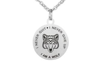 Never Give Up Never Quit Wolf Pendant Stainless Steel dog tag Necklace