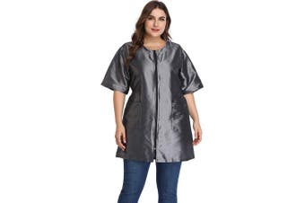 (Silver Grey) - Hair Stylist Grooming Smocks for Women, Barber Apron Jacket Vest for Hair Salon, Dog Groomers, Nail Tech, Massage Therapist, Esthetician