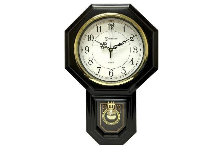 (44cm  x 29cm , Model: 180BWAC w/ Updated Chime, Black) - Timekeeper Essex Westminster Chime Pendulum Wall Clock, 44cm x 29cm , Black
