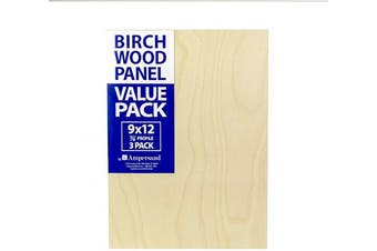 (23cm  x 30cm ) - Ampersand Art Supply BMP8750912 Birch Wood Painting Panel 23cm x 30cm w/ 2.2cm Profile Cradle Value Pack for Painting & Pouring, 23cm x 30cm , 3 Boards per Package