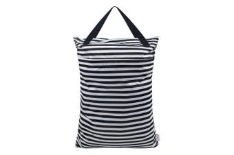 (Black and white stripe) - ALVABABY Large Wet Dry Bag,Waterproof Hanging Cloth Nappy with Double Zippered Pockets,60cm x 46cm HL-WB01
