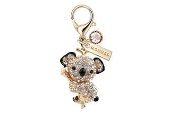 MC124 New Cute Crystal Koala Bear Lobster Clasp Charm Pendant with Pouch Bag (1 Piece)