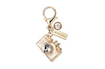 MC102 New Arrival White Crystal 3D Camera Lobster Clasp Charm Pendant with Pouch Bag (1 Piece)