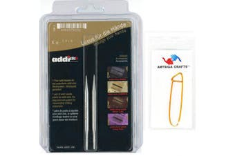 (8cm/5.5mm) - addi Click Interchangeable Tips Short Lace Set White-Bronze Finish 8cm Size Size 5.5mm Bundle with 1 Artsiga Crafts Aluminium Stitch Holder