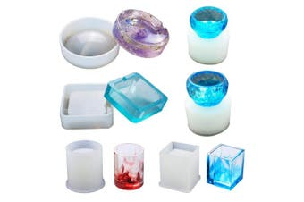 (Hollow Resin Molds) - Resin Silicone Mould LET'S RESIN Resin Art Moulds Include Round, Square, Cylinder, Small Bowls, Silicone Moulds for Concrete, DIY Coaster/Flower Pot/Ashtray/Pen Candle Soap Holder