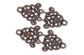 (Antique Copper) - Bezelry 4 Pairs Filigree Trivet Cape or Cloak Clasp Fasteners. 64mm x 29mm Fastened. Sew On Hooks and Eyes Cardigan Clip (Antique Copper)