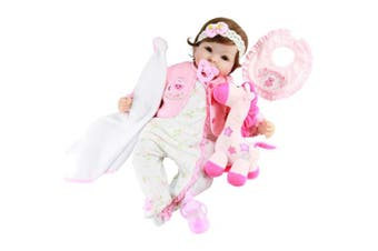 Aori Realistic Baby Doll Silicone Lifelike Weighted Baby Reborn 60cm Doll Girl with Pink Horse and Accessories