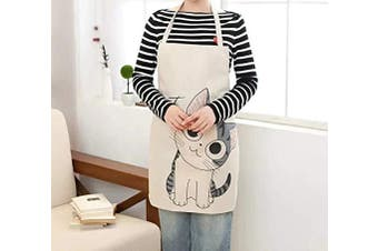 (Smile) - Phantomon Cute Cat Cartoon Apron Japanese Style Fun Cotton Woman Chef Kitchen Apron (Smile)
