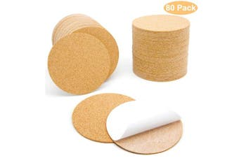 80 Pcs Self-Adhesive Cork Round for DIY Coasters, 10cm x 10cm Cork Circle, Cork Tiles, Cork Mat, Cork Sheets with Strong Adhesive-Backed by Blisstime