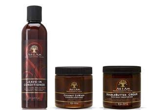 As I Am Naturally | Coconut CoWash 470ml | Leave-In Conditioner 240ml | DoubleButter Cream Moisturiser 240ml (3 SET BUNDLE)