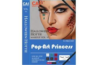 (Pop-Art Princess) - 10-Piece Makeup Set Halloween Hottie Costume FX Face Paint Make Up Kit for Adults, Pop-Art Princess