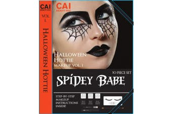 (Spidey Babe) - 10-Piece Makeup Set Halloween Hottie Costume FX Face Paint Make Up Kit for Adults, Spidey Babe