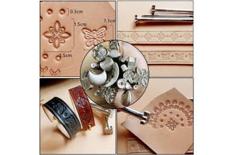 (22pcs b) - BUTUZE Leather Craft Set, 22 Pieces Leather Tool Kit with Leather Stamping Tools, Swivel Knife, Leather Working Hammer for Leather Craft DIY, Leather Carving, Leather Working