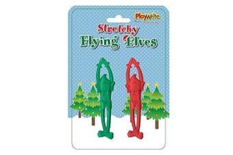 All For You 2 Christmas Strechy Flying Elf Elves Kids Play Gift Party Bag Filler Stocking Figures Bendable Set Seasonal Red Green