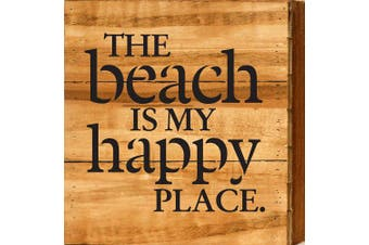 (Natural) - Artistic Reflections The Beach is My Happy Place Pallet Art Wood Sign