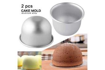 (2Pcs Big Size) - 2Pcs Internal Diameter 9cmX7cm Height Deep Half Round Cake Mould