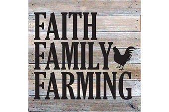 (White) - Artistic Reflections Pallet Art RE1029w Faith Family Farming, 27cm x 27cm , White