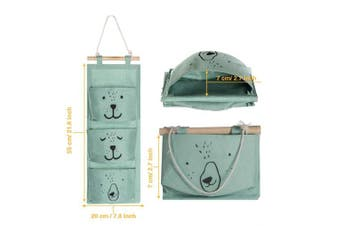 (Grey+Cyan) - Aitsite 2 Pcs Wall Hanging Storage Bag|Cartoon Over The Door Closet Organiser|Linen Fabric Organiser with 3 Semicircular Pockets for Bedroom Bathroom Kitchen (Grey+Cyan)