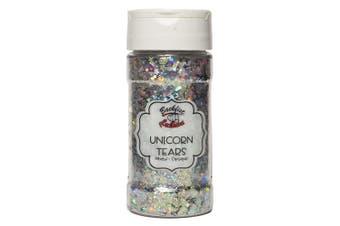(Unicorn Tears) - Backfist Customs Glitter Unicorn Tears Premium Polyester Glitter Multi Purpose Dust Powder 120ml for use with tumblers Slime Arts & Crafts Wine Glass Decoration Weddings Cards