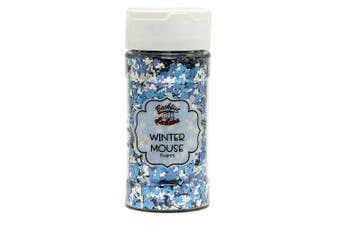 (Winter Mouse) - Backfist Customs Glitter Winter Mouse Premium Polyester Glitter Multi Purpose Dust Powder 120ml for use with tumblers Slime Arts & Crafts Wine Glass Decoration Weddings Cards
