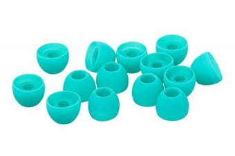 (S, Turquoise) - Xcessor Replacement Silicone Earbuds 7 Pairs (Set of 14 Pieces). Compatible With Most In Ear Headphone Brands. Size: Small, Turquoise