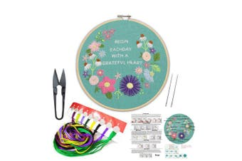 (Flower 2) - Full Set of Handmade Embroidery Starter Kit with Partten Including Embroidery Cloth,Bamboo Embroidery Hoop, Colour Threads, and Tools Kit for Beginner